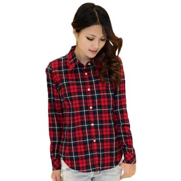 Women Button Down Casual Lapel Shirt Plaids & Checks Top Blouse Flannel Shirts E