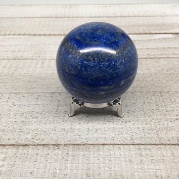 "247.4g, 2.1"" Natural Lapis Lazuli Crystal Sphere Ball Handmade @Afghanistan,LS02"
