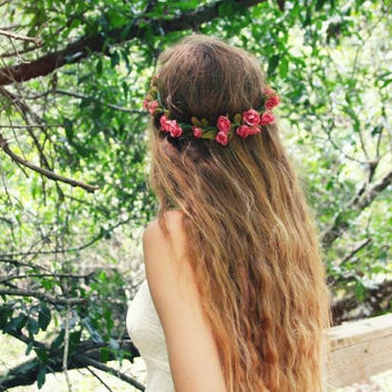 Dusty Pink Flowers with Leaves Flower Crown by CasesbyOliviaRose