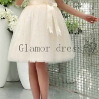 short cream tulle bridesmaid dresses with satin sash   a-line sweetheart bridesmaid gowns cute   cheap lace-up dress for prom