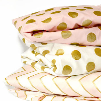 GOLD POLKA DOT crib sheet - metallic polka dot bedding- baby girl nursery - crib fitted sheet- changing pad cover- pink gold baby sheet