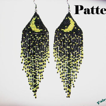 Pattern Moonlight Sonata Seed Beads Brick Sch Earrings