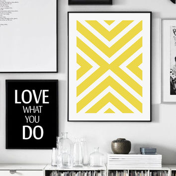 Yellow Geometric Print, Yellow Print, X Print, Yellow X, Printable Art, Yellow And White, Scandinavian, Affiche Geometrique