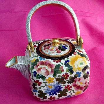 Vintage Japanese Teapot, Elaborate Cloisonne Tea Pot, Collectable. Asian Wine Teapot. Lovely Wedding Gift