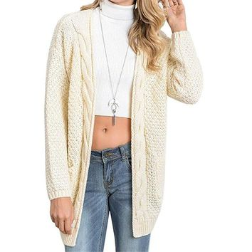 Beige Boho Long Sleeve Open Front Chunky Warm Cardigans Pointelle Pullover Sweater Blouses