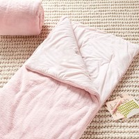 Pastel Bunny Faux Fur Sleeping Bag, Peach
