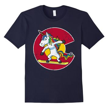 Snowboarding Unicorn Colorado Flag Shirt