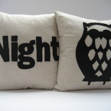$98.00 NIGHT OWL in Black PAIR of pillows / cushions by SewEnglish