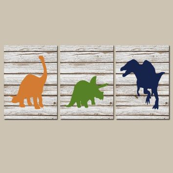 DINOSAUR Wall Art, Wood Design Dinosaur Decor, Canvas or Prints, Baby Boy Dinosaur Nursery, Boy Bedroom Decor, DINO Theme Set of 3 Pictures
