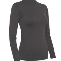 Ladies Charcoal Seamless Long Sleeve Turtleneck Top $12.90