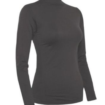 Ladies Charcoal Seamless Long Sleeve Turtleneck Top