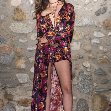 Velvet Maxi Floral Dress with Shorts