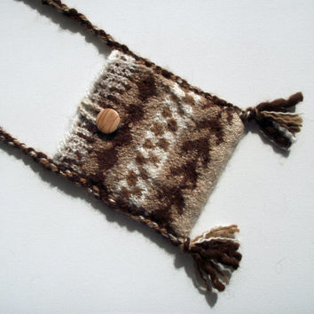 Knitted Felted Crossbody Bag, Artisan Alpaca Handspun Felted Bag,  Brown Alpaca Purse, Handspun Knitted Alpaca Pouch, Brown Fawn Cream Pouch