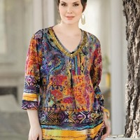 Ulla Popken Plus Size Print Beaded Knit Tunic