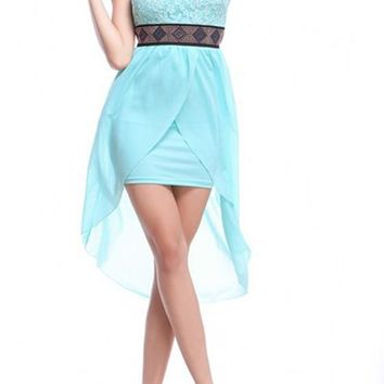 Light Blue Patchwork Rhinestone Belt Irregular Bandeau Midi Dress