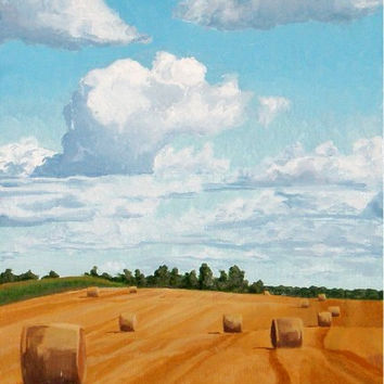 "Original Oil Painting, Landscape Painting, Hay Bales Painting, 5x7"" oil on panel."
