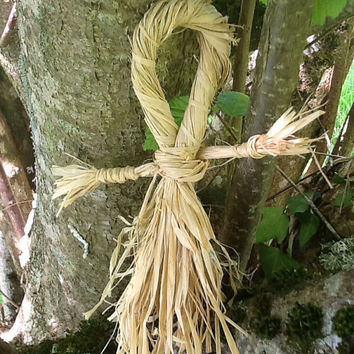 Raffia dolly, altar decoration, poppet, healing spells, bridie doll, imbolc decoration, corn dolly, lammas decoration, autumn decor
