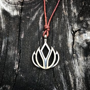 LIFE Lotus Flower of Grace Necklace - Bronze on Leather Cord *Back in Stock!