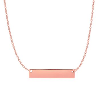 14k Pink Gold Shiny 4.9-1.1mm Horizontal Square Tube Bar Anchor On 1.08mm Oval Link Necklace with Spring Ring Clasp