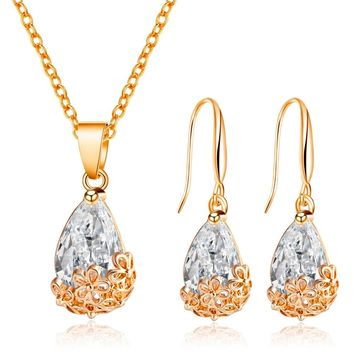 Water Drop Crystal Jewelry Sets Exquisite Gold Silver Color Necklace Pendant