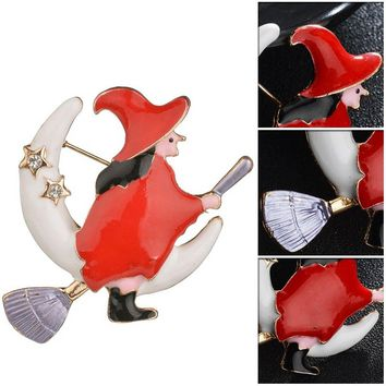 Cute Yellow Pumpkin Flight Witch Moon Broom Alloy Dripping Oil Brooches &Pins Funny Magical Halloween Brooche Scarf Clips
