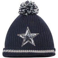 Dallas Cowboys Women's Beanie Sequin Frost Ladies Knit Hat With Pom