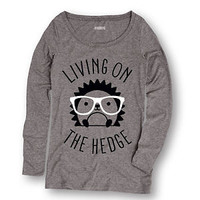 Living On The Hedge Hedgehog with Glasses - Ladies Long Sleeve Tee