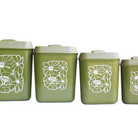 1960s Avocado Green Pyrex Kitchen Canister Set, Plastic, Complete Set of 4 | Mid Century Modern Decor Olive Storage Retro Collection