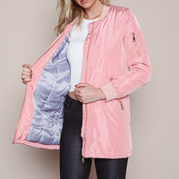 PINK OVER SIZE SATIN BOMBER JACKET