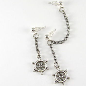 Nautical Cartilage Double Pierced Ship Wheel Earrings