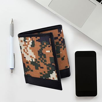 AFONiE RFID Camo Leather Trifold Wallet