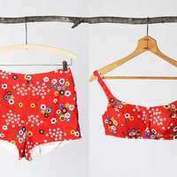 vintage 60's flower print swimsuit  with high waisted shorts and bullet bra women's retro mod hip
