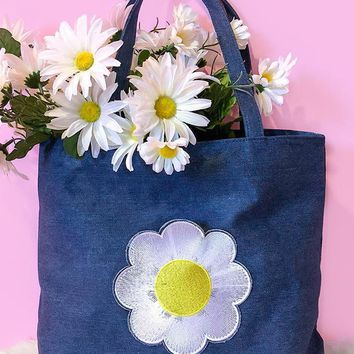 Daisy Embroidered Pocket Denim Tote Bag