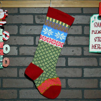 Personalized Hand Knit Christmas Stocking in Cherry Red with Aran Snowflakes and Bright Pink Hearts, Fair Isle Christmas stocking
