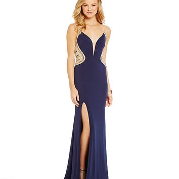 Glamour by Terani Couture Beaded Illusion Sides Gown | Dillards