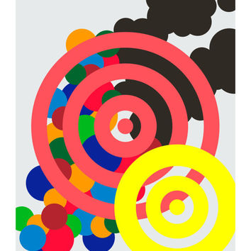 On the Spot, Original Art Print, Geometric, Abstract, Target, Circle, 11x14
