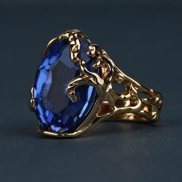Baroque Gothic Statement Ring Gold Color with Blue Cubic Zirconia Stone Ring for Women Cocktail Party Jewelry