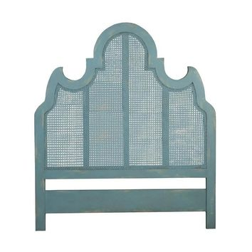 Caned Queen Headboard Blue