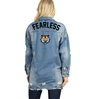 Fearless Lion Iron on Patch Long Distressed Denim Jacket