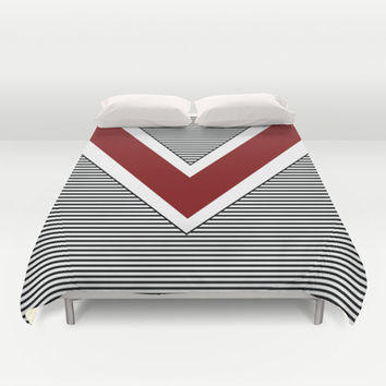 Black and White Stripes and Maroon Arrow Duvet Cover by Kat Mun