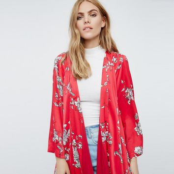 New 2017 Women Boho Floral Printed Red Casual Loose Kimono cardigan Summer Woman Long Cardigan 3/4 Sleeve Open Outwear Tops #529