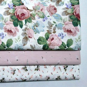 Printed Rose baby cotton quilting Fabric DIY Sewing upholstery Scrapbooking Tissue Needlework Material Curtain Cloth