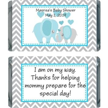 18 Blue Elephant Baby Shower Miniature Chocolate Bar Wrappers