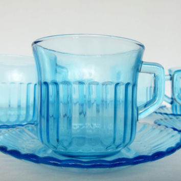 Blue Glass Cups and Saucers set of 6 - Fortecrisa Mexico - Glass Tea Cups - Cobalt Depression Glass