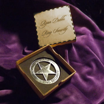 Ring Security Badge- Boys Wedding Gift for the Ring Bearer - Wedding Keepsake - Texas Ranger Star or Police Badge Style