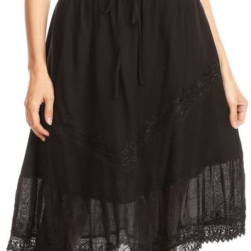 Sakkas Beren Mid Skirt Flared with Elastic Waist Embroidery Brocade and Crochet