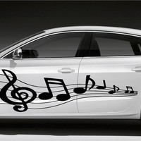 MUSIC NOTES LYRICS MELODY BAND  COOL DESIGN HOT CAR VINYL SIDE GRAPHICS D2121