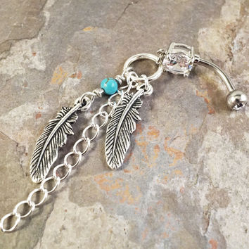 Simple Dream Catcher Feathers Turquoise Dangle Belly Button Jewelry Ring