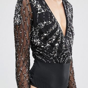 Maya Petite Plunge Front Long Sleeve Embellished Body at asos.com