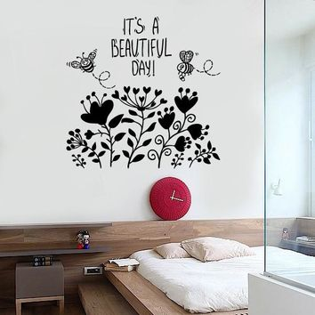 Wall Vinyl Decal Flowwer Bee Quote Have A Nice Day Floral Modern Decor Unique Gift z3651